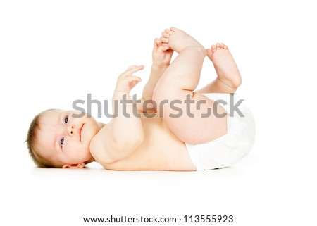 beautiful child naked in diapers - stock photo