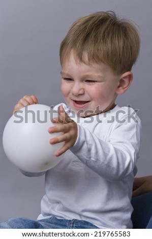 beautiful child with balloon - stock photo