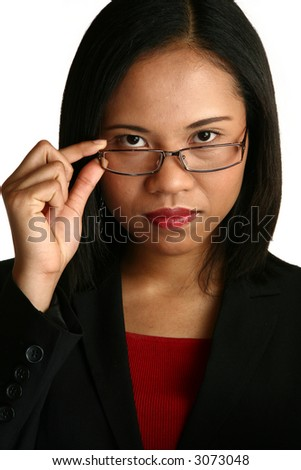 Beautiful Chinese Indonesian business woman, with glasses. - stock photo