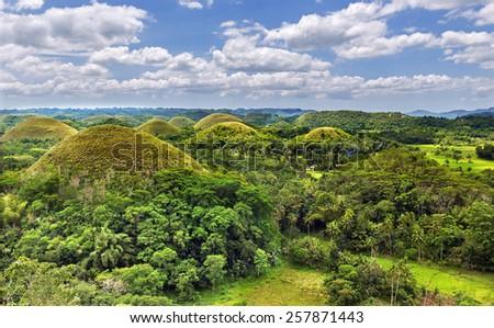 Beautiful chocolate hills in Bohol island,Philippines - stock photo