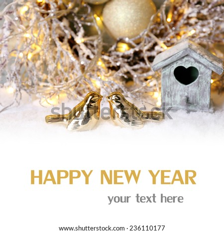 Beautiful Christmas composition with small bird house on light background - stock photo
