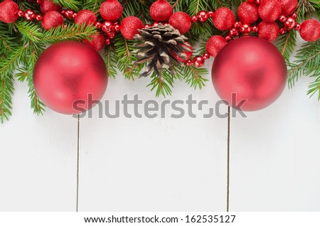 Beautiful Christmas decoration on wooden background  - stock photo