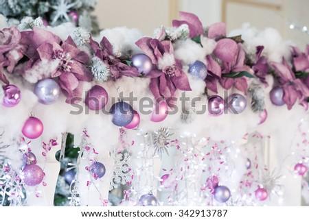 Beautiful Christmas Decoration with Snow, Christmas lights and Christmas balls - stock photo