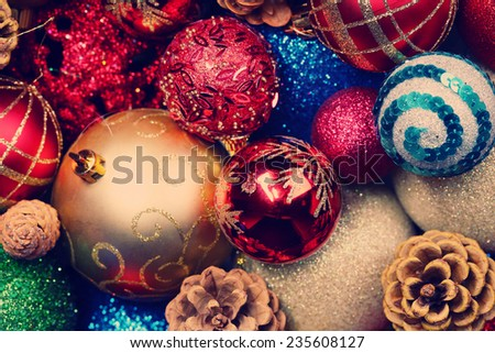 Beautiful Christmas decorations background - stock photo