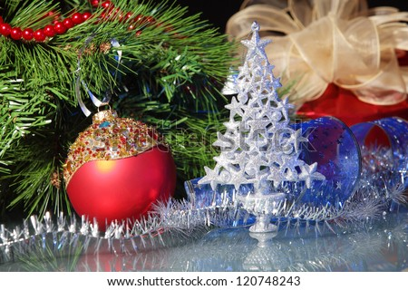 Beautiful christmas decorations for a christmas tree - stock photo