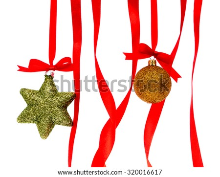 Beautiful christmas decorations  with Shiny red ribbon on white background - stock photo