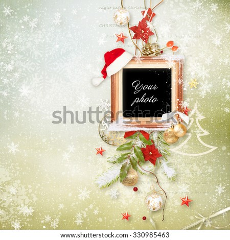 Beautiful Christmas frame for photos - stock photo