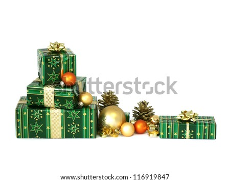 beautiful Christmas gifts isolated on white background - stock photo