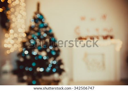 Beautiful Christmas living room with Christmas tree and fireplace - stock photo