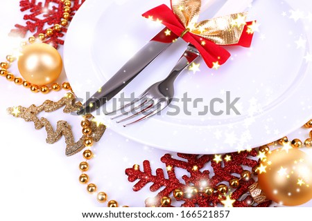 Beautiful Christmas setting close up - stock photo