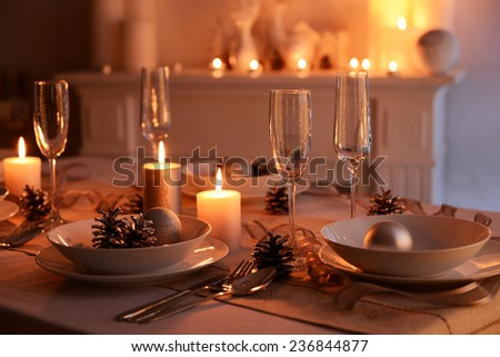 Beautiful Christmas table setting - stock photo