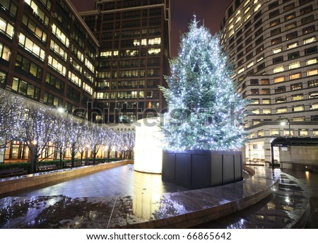beautiful christmas tree at canary wharf - stock photo