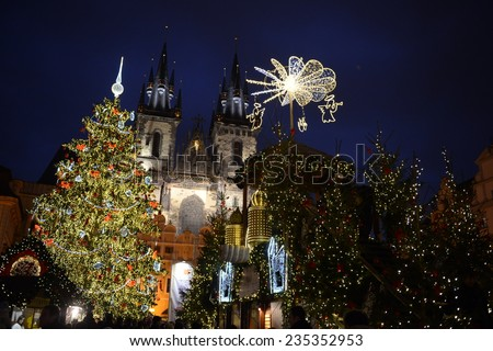 Beautiful christmas tree in the middle of the Old Town Square in Prague - stock photo