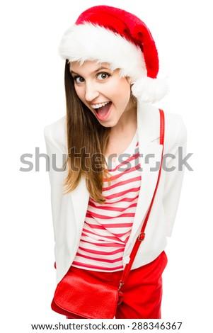 Beautiful Christmas Woman Isolated on White - stock photo