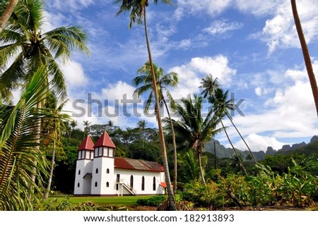 beautiful church at moorea island, french polynesia - stock photo