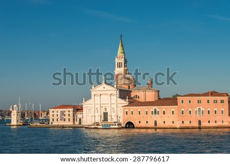 Beautiful Church of San Giorgio Maggiore and its Bell Tower, Venice, Italy, summer 2015 - stock photo