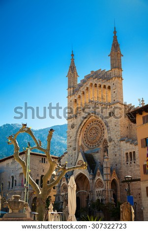 beautiful church of Sant Bartomeu (Saint Bartholomew) in the central square of Soller, Majorca, Spain - stock photo