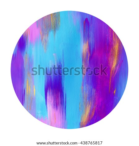 Beautiful circle design element,hand painted,cayan and  magenta colors - stock photo