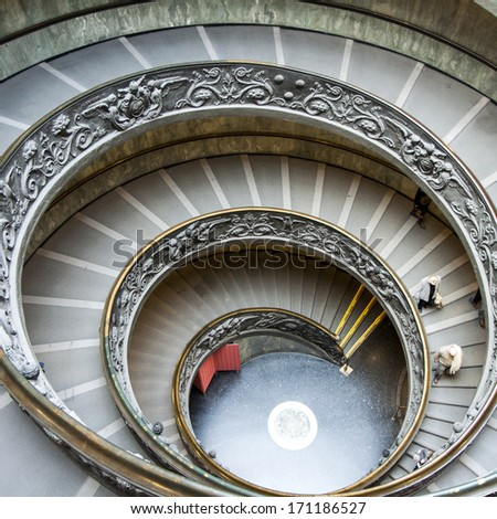 Beautiful circle stairs at Vatican - stock photo