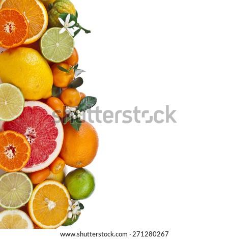 Beautiful citrus fruits of  lemon, orange, grapefruit, lime. isolated on white background - stock photo