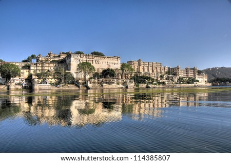 beautiful city of Udaipur in rajasthan state in india - stock photo