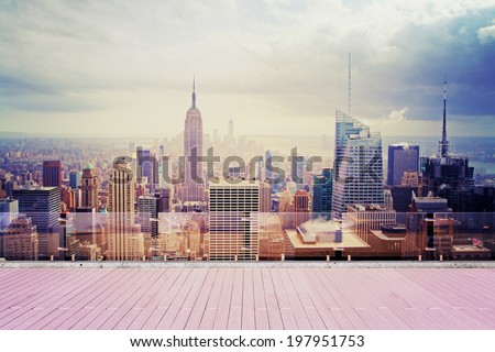 beautiful city view from roof at sunset - stock photo