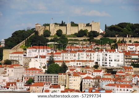 beautiful cityscape of Lisbon with Sao Jorge Castle, Portugal - stock photo