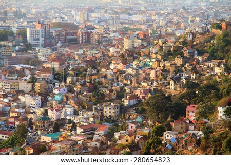Beautiful cityscape view of the houses in Antananarivo, Madagascar, at sunset - stock photo