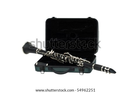 Beautiful clarinet on its travel case isolated on white - stock photo