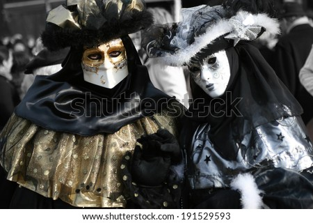 Beautiful clasical mask in Venice - stock photo