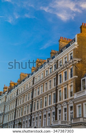 Beautiful classic and antique building in historic district area of London - stock photo