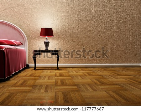beautiful classic lamp near bed, rendering - stock photo