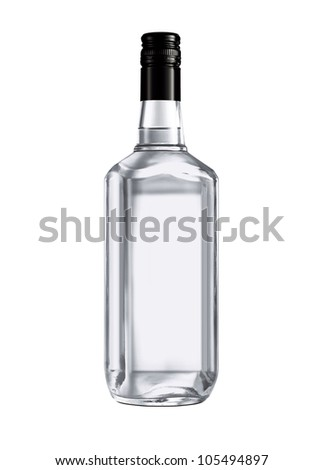 Beautiful Clear Whisky Bottle against white background - stock photo