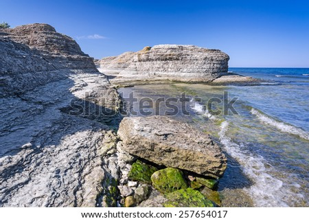 Beautiful cliff formation on Oland island - stock photo