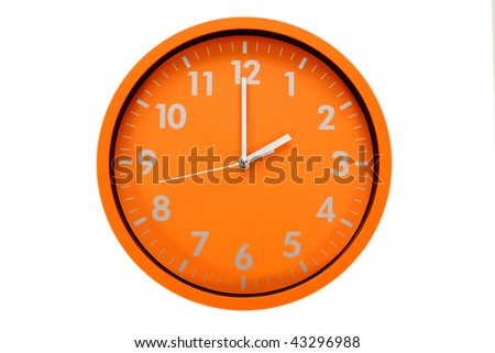 beautiful clock on the wall (2h, 14h) - stock photo
