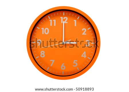 beautiful clock on the wall, 3h, 15h - stock photo
