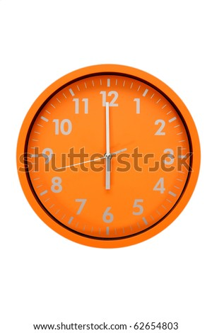 beautiful clock on the wall, 6h, 18h - stock photo