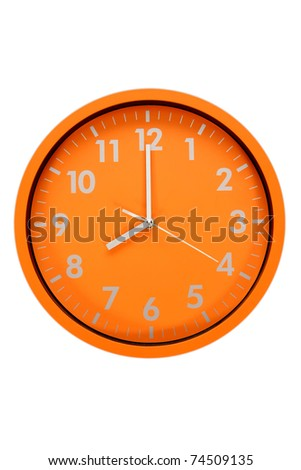 beautiful clock on the wall, 8h, 20h - stock photo