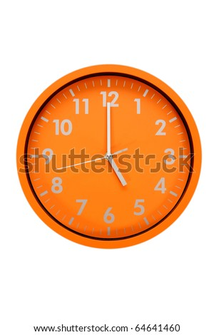 beautiful clock on the wall, 17h, 5h, business concept - stock photo
