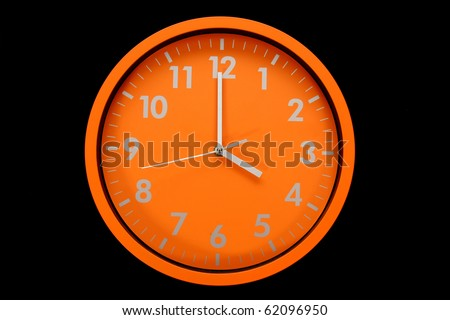 beautiful clock on the wall, 4h, 16h, 4pm - stock photo