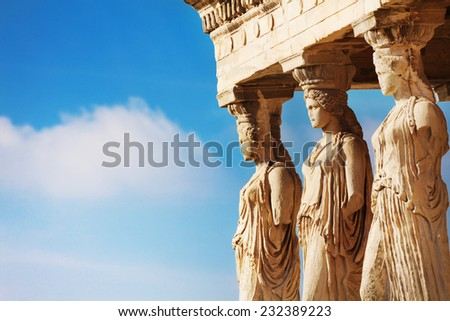 Beautiful close up statues view of Erechtheion - stock photo