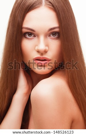 beautiful closeup woman portrait with long hair over white - stock photo