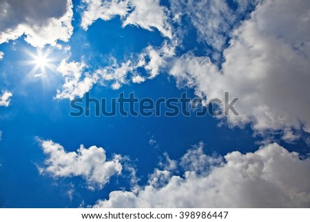 Beautiful cloud sky with sunrise  - stock photo