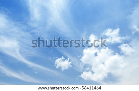 Beautiful clouds and sky with wind blowing. - stock photo