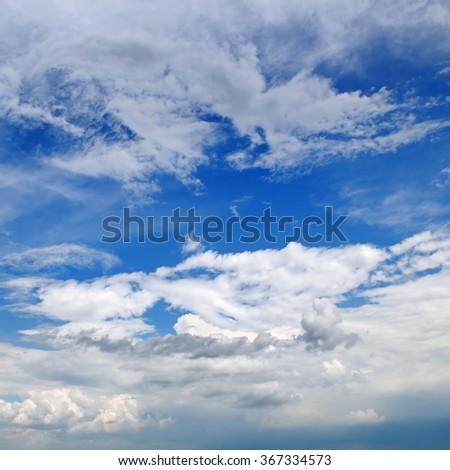 beautiful clouds in blue sky - stock photo