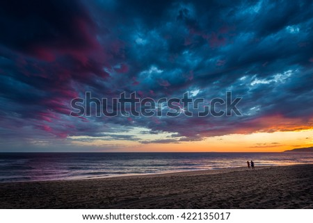 Beautiful Clouds Over the Ocean at Sunset on the Beach.Evening. - stock photo
