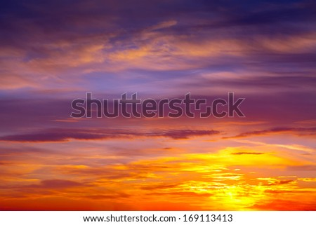 Beautiful cloudy sky on dawn - stock photo