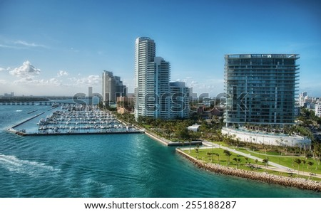 Beautiful coast and buildings of Florida - Miami. - stock photo