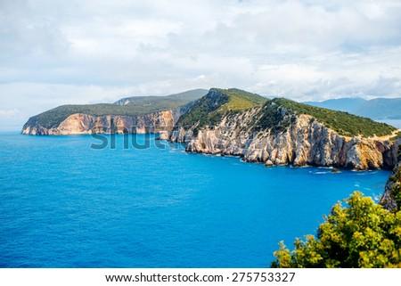 Beautiful coastline at Lefkada island in Greece. Top view, general plan - stock photo