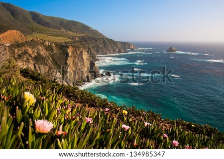 Beautiful Coastline in Big Sur,California - stock photo